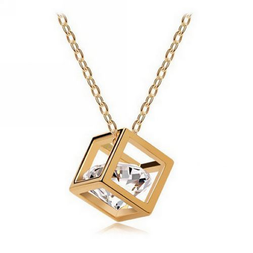 Stereo Lover Box Cubic Zirconia Necklace - Gold