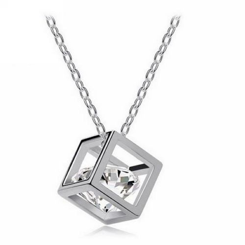 Stereo Lover Box Cubic Zirconia Necklace - Silver