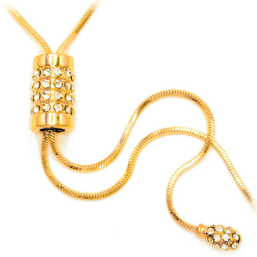 Shining CZ Long Chain Y Necklace (Gold-plated)