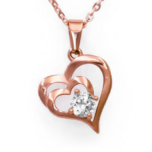 Olivia Rose Gold Tone Heart Necklace
