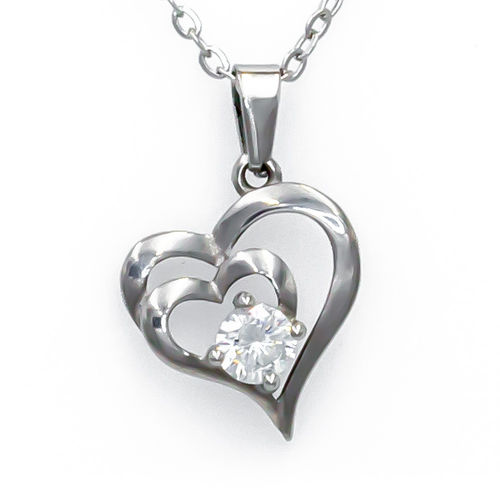 Olivia Silver Tone Heart Necklace