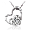 Double Hearts Cubic Zirconia Pendant Necklace