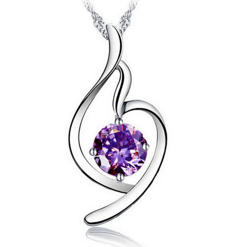 Soft Angel Lucky Necklace - Purple Cubic Zirconia