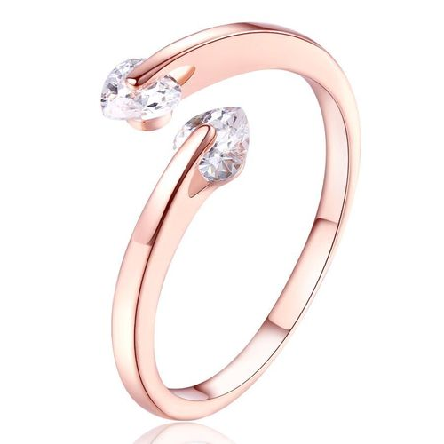 Double Love CZ Heart Adjustable Ring - Rose Gold Tone