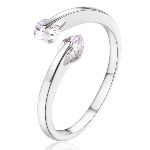 Double Love CZ Heart Adjustable Ring - Silver Tone