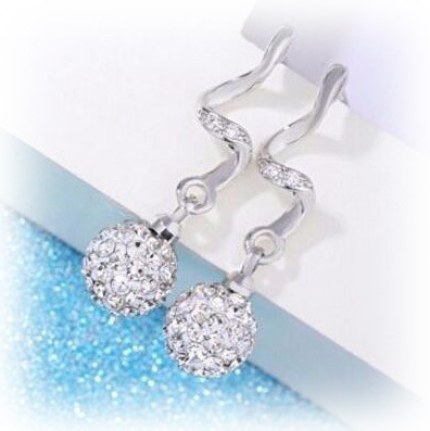 Shambhala CZ Ball Drop Earrings - Silver