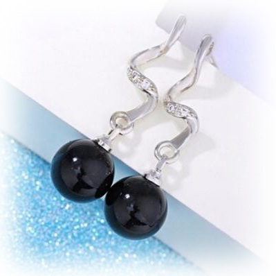 Shambhala Natural Agate Silver Earrings - Black