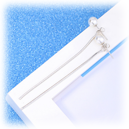 Simply Elegance Ear Lines - White Pearl Drops