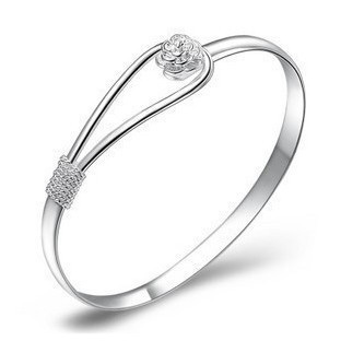 Sterling Silver Sakura Romance Bangle - Silver