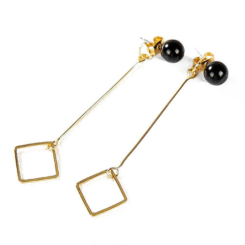 Punk Gold Square Black Pearl Long Drop Earrings