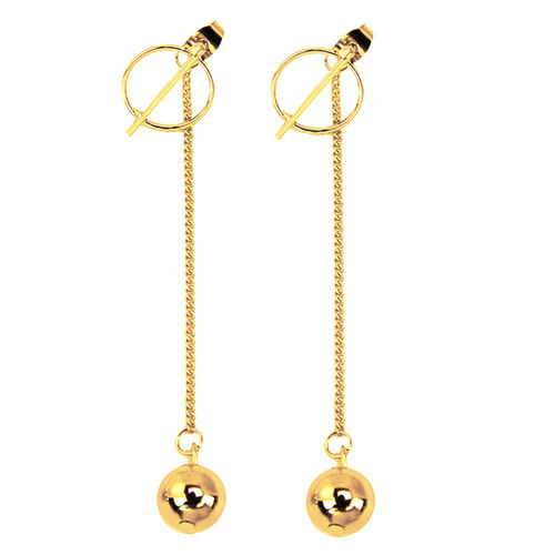 Punk Tassel Long Chain Gold Ball Drop Earrings