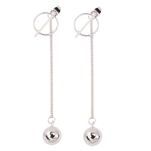 Punk Tassel Long Chain Silver Ball Drop Earrings