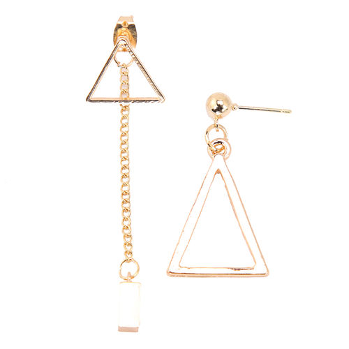 Geometric Triangular Asymmetric Drop Earrings