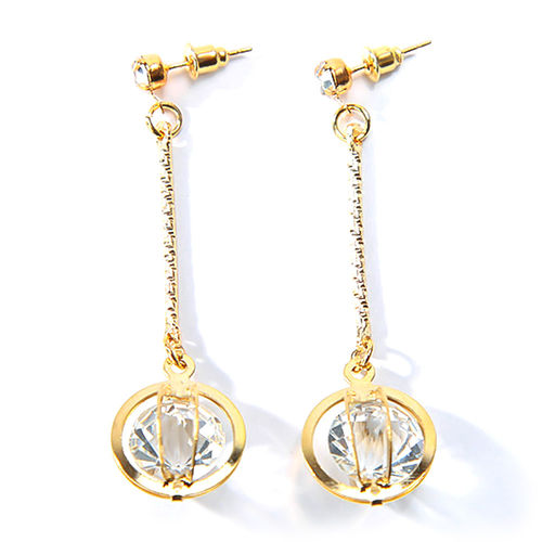 Tassel Round Shiny CZ Circular Cage Drop Earrings