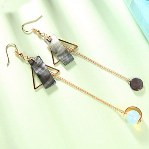 Triangular Sequins Asymmetric Gold Tone Earrings