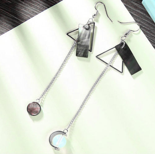 Triangular Sequin Asymmetric Silver Tone Earrings