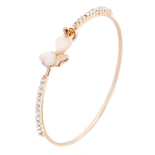 Opal White Clover Charm Bangle - Gold Tone