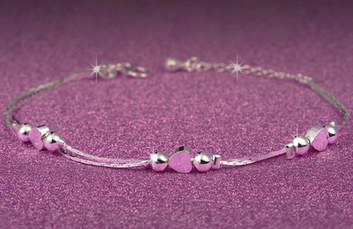 Sterling Silver Beads and Hearts Bracelet