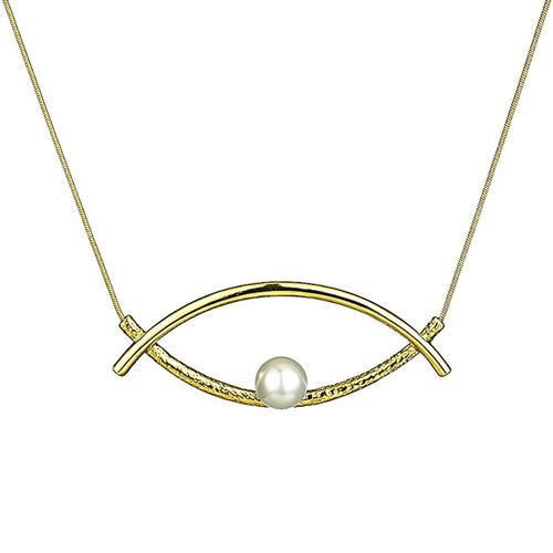 Double Curve Pearl Eye Necklace - Gold Tone