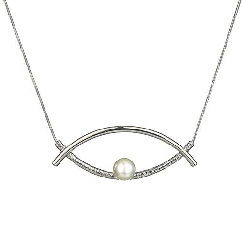 Double Curve Pearl Eye Necklace - White Gold Tone