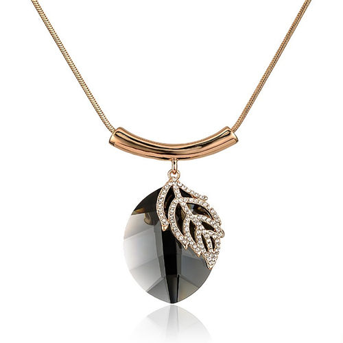 Oval Leaf Crystal Pendant Necklace - Gold Tone