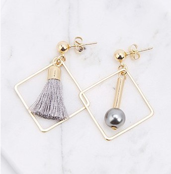 Asym.Sq. Silver Pearl Tassel Earrings - Gold Tone