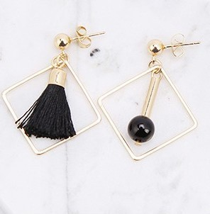 Asym. Sq. Black Pearl Tassel Earrings - Gold Tone