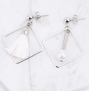 Asym.Sq. White Pearl Tassel Earrings - SilverTone