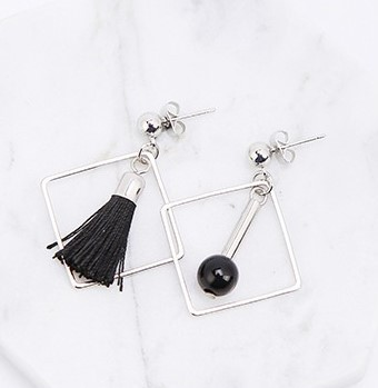 Asym.Sq. Black Pearl Tassel Earrings - SilverTone