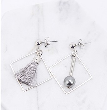 Asym.Sq.Silver Pearl Tassel Earrings - SilverTone