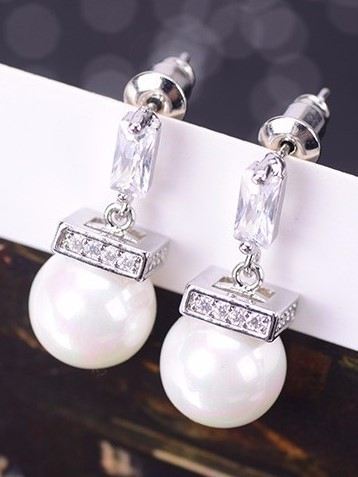 CZ Pearl Drop Earrings - Silver Tone