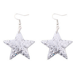 Sequin Star Long Chain Drop Earring - Silver Tone