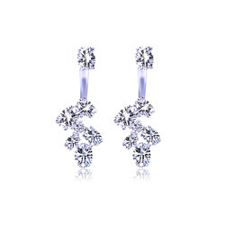 Zircon Leaf Female Stud Earrings - Silver Tone