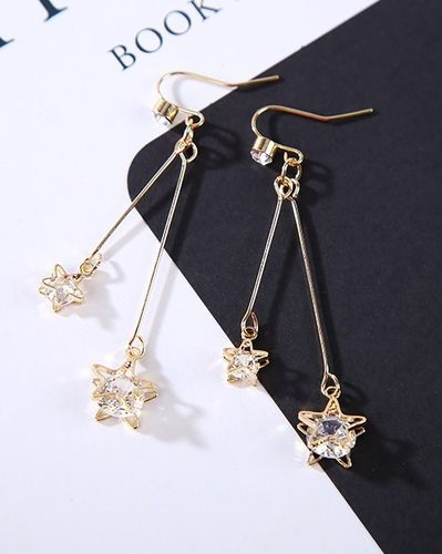 Shooting Star CZ Dangle Drop Earrings - Gold Tone