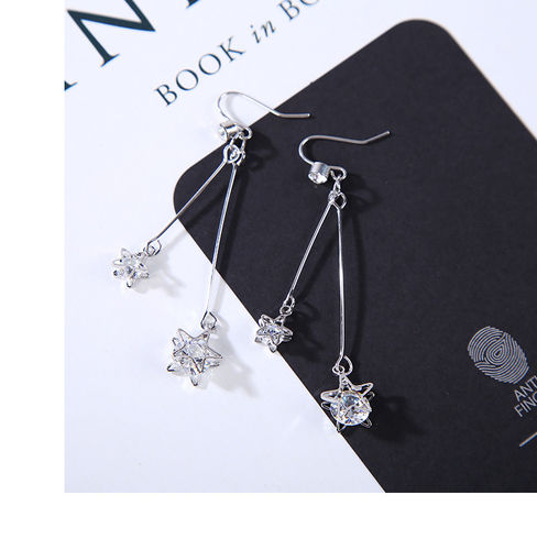 Shooting Star CZ Dangle Drop Earrings -SilverTone