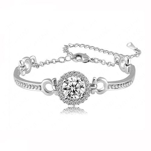 10mm Round CZ Bangle - Silver Tone