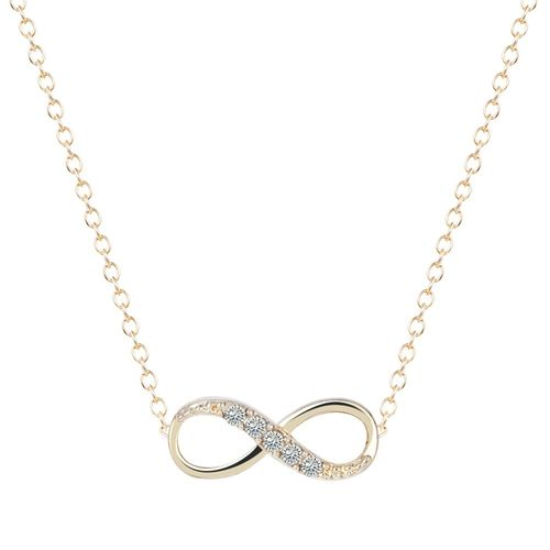 Zircon Infinity Pendant Chain Necklace - Gold Tone