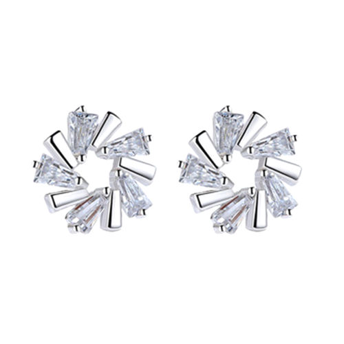 Ice Crystal Flower Stud Earrings -Silver Tone