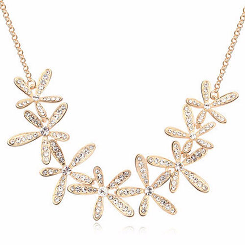Crystal Snowflake Chain Necklace - Gold Tone