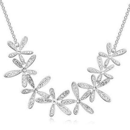 Crystal Snowflake Chain Necklace - Silver Tone