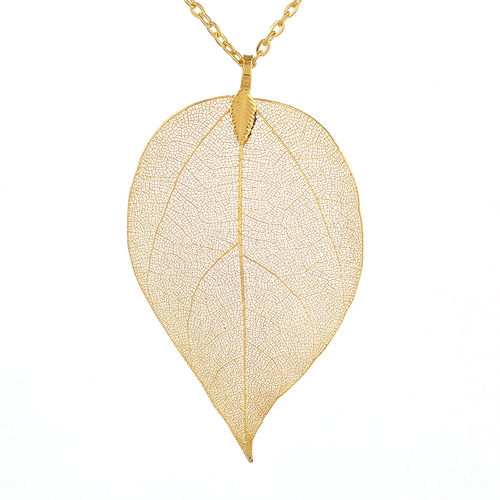 Natural Leaf Pendant Necklace - Gold Tone