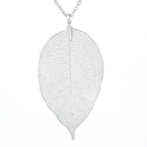 Natural Leaf Pendant Necklace - Silver Tone