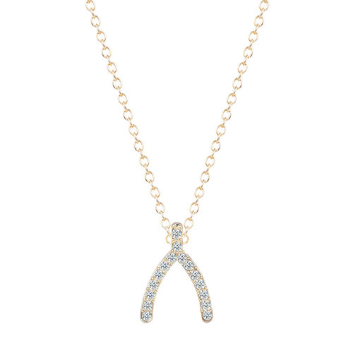Wishbone Crystal Pendant Necklace - Gold Tone