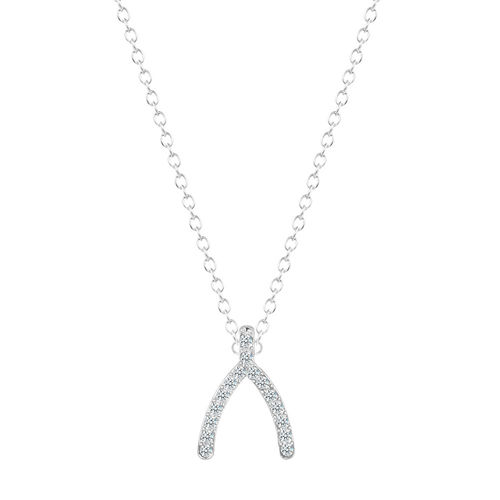 Wishbone Crystal Pendant Necklace - Silver Tone