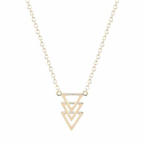 Tiered Triangle Pendant Necklace - Gold Tone