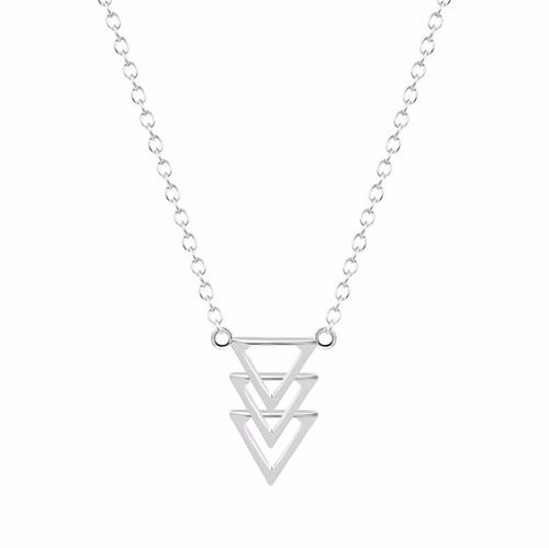 Tiered Triangle Pendant Necklace - Silver Tone