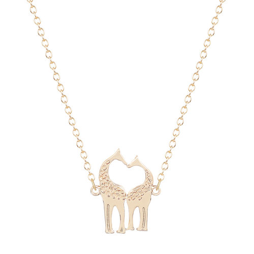 Cute Giraffe Necklace - Gold Tone