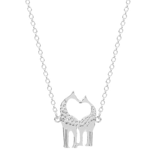 Cute Giraffe Necklace - Silver Tone