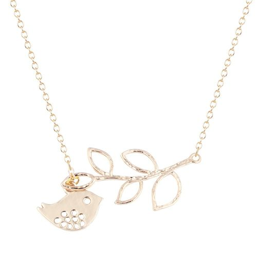 Cute Bird Branch Pendant Necklace - Gold Tone