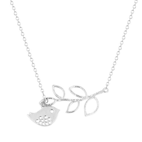 Cute Bird Branch Pendant Necklace - Silver Tone